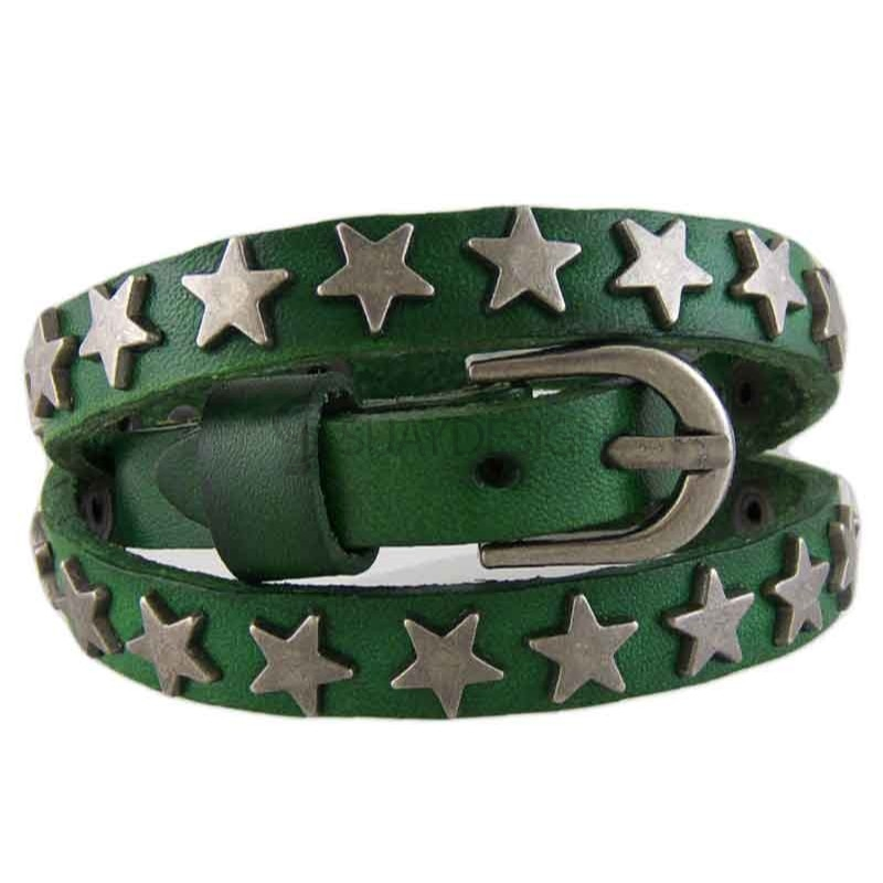 Women's Star Green Leather Bracelet 012