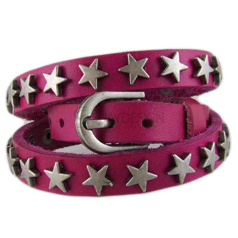 Star Pink Leather bracelet 012