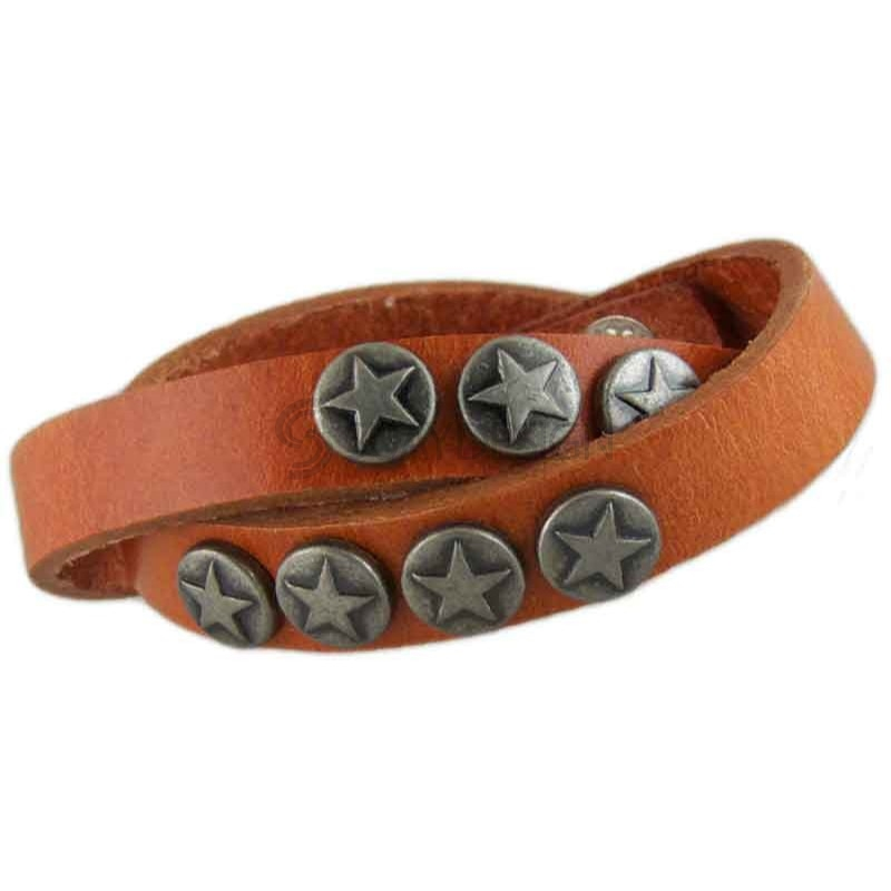 Women's Star Tan Leather Bracelet 011