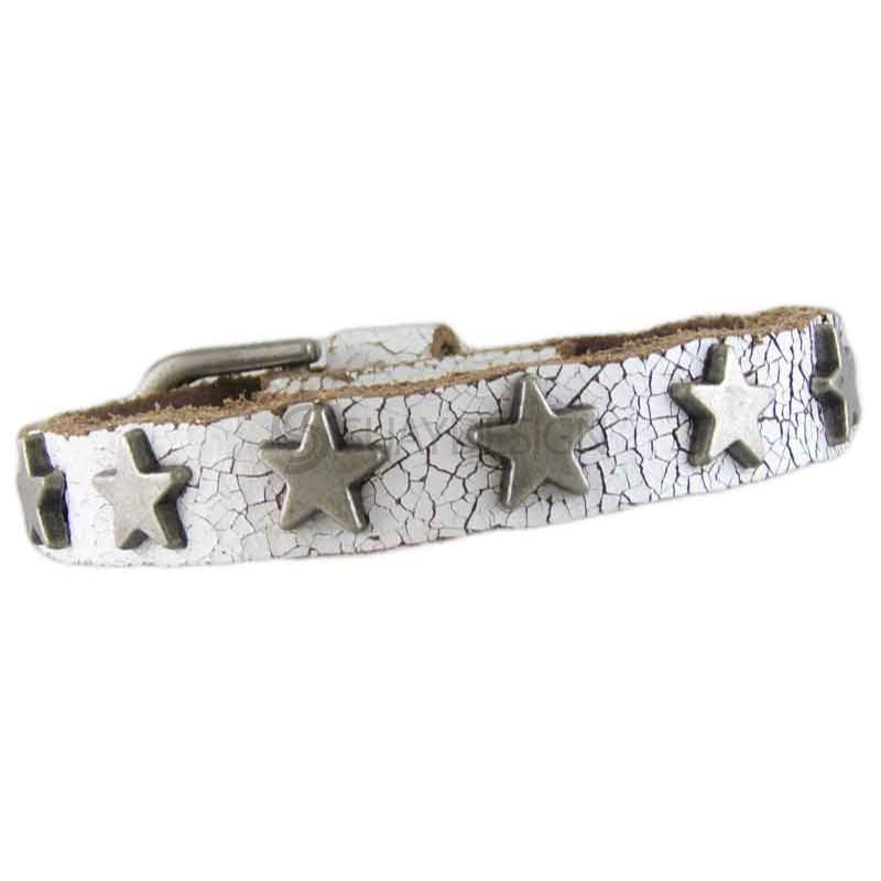 Star White Leather Bracelet 010