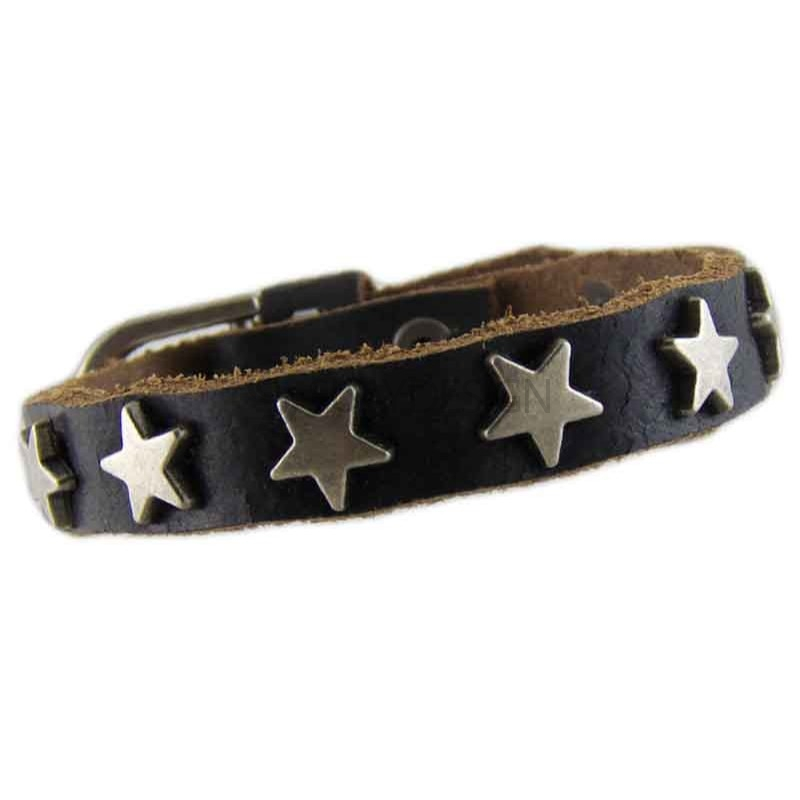 Women's Star Black Leather Bracelet 010