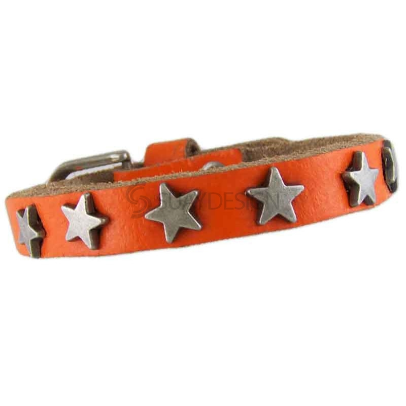 Star Orange Leather Bracelet 010