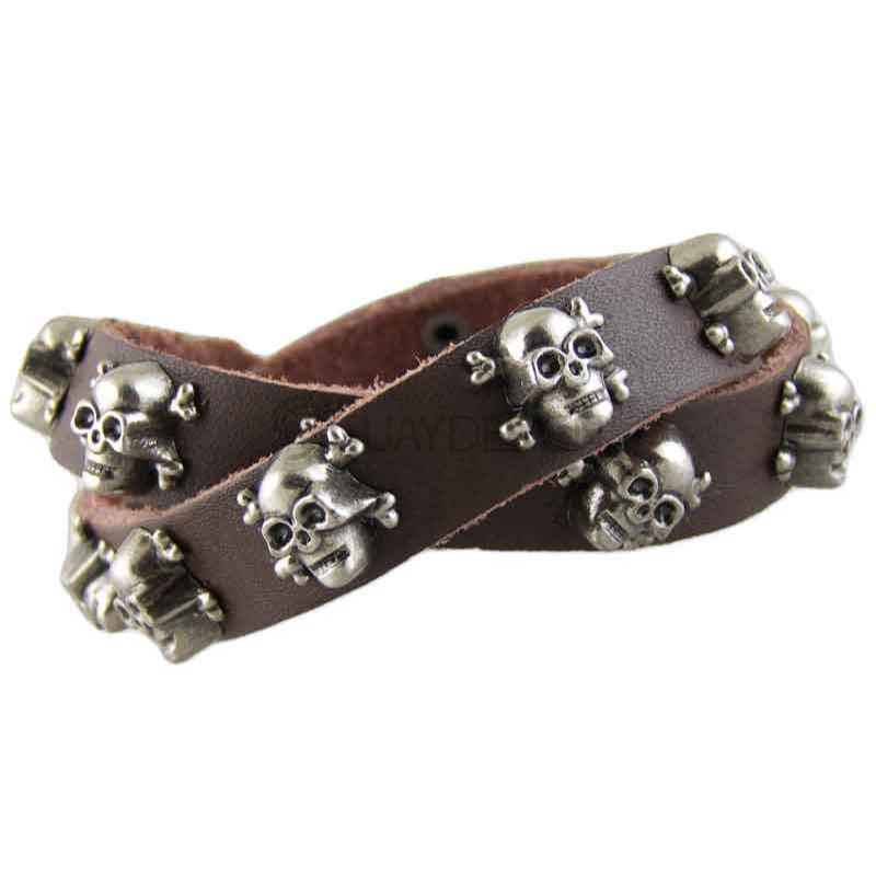Skull Brown Leather Bracelet 003