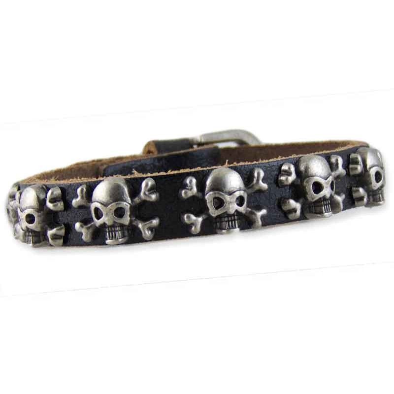 Women's Skull Black Leather Bracelet 002