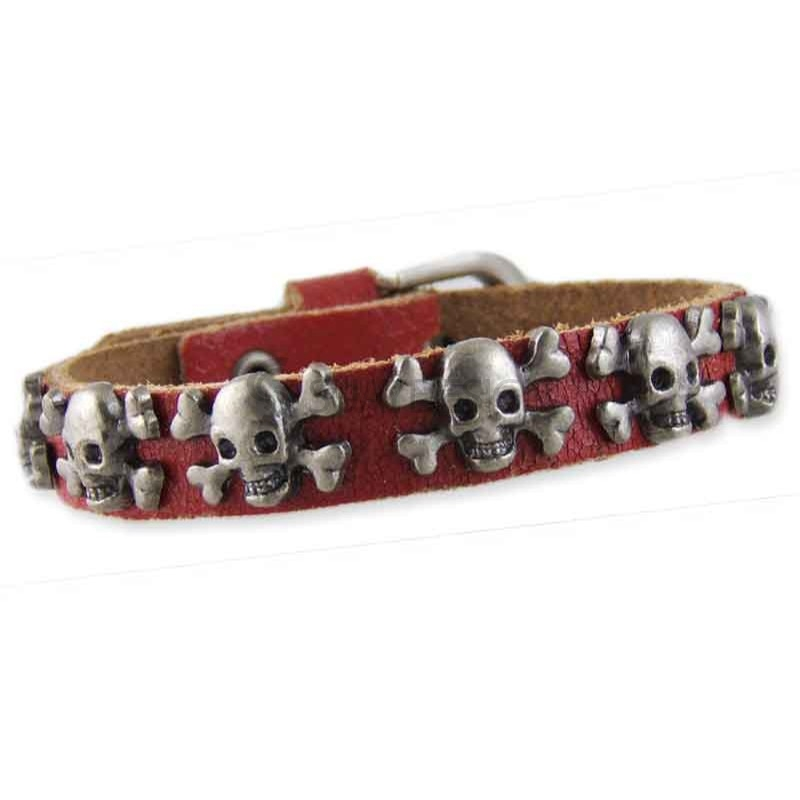 Skull Red Leather Bracelet 002