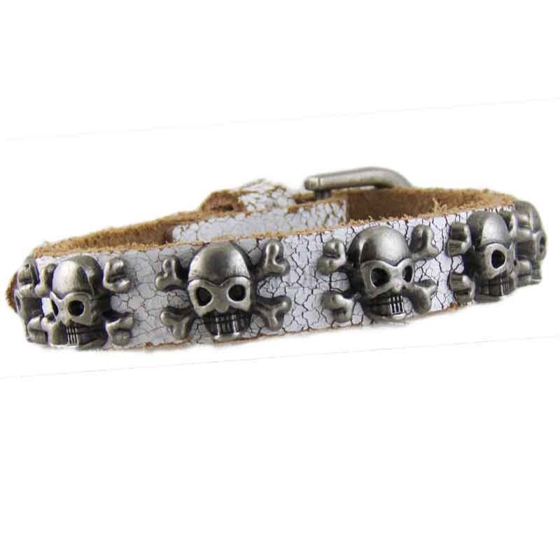 Skull White Leather Bracelet 002