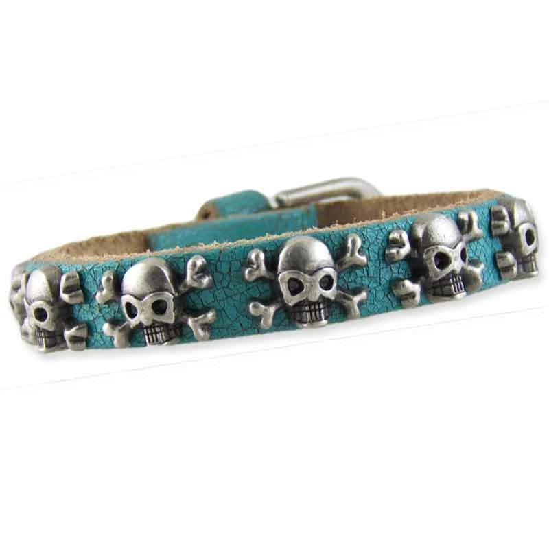 Women's Skull Turquoise Leather Bracelet 002