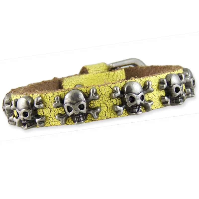 Women's Skull Yellow Leather Bracelet 002