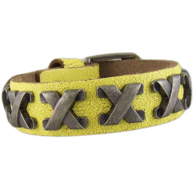 Women's Cross Yellow Leather Bracelet 040