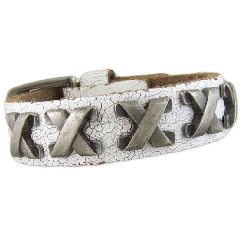 Cross White Leather Bracelet 040