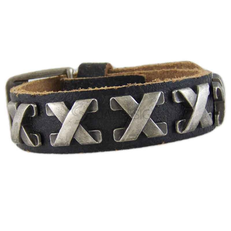 Women's Cross 040 Black Leather Bracelet