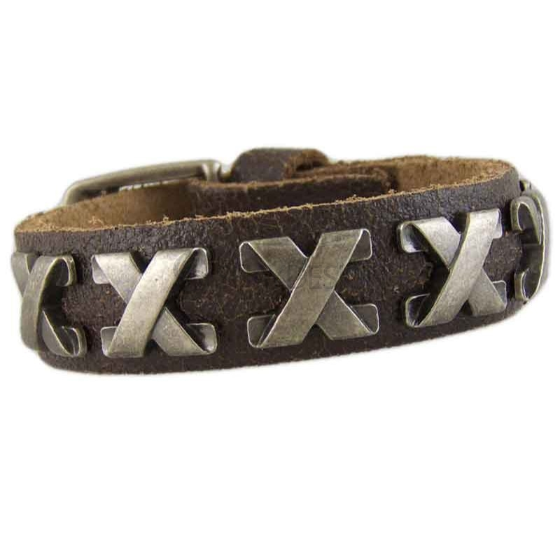 Women's Cross Brown Leather Bracelet 040