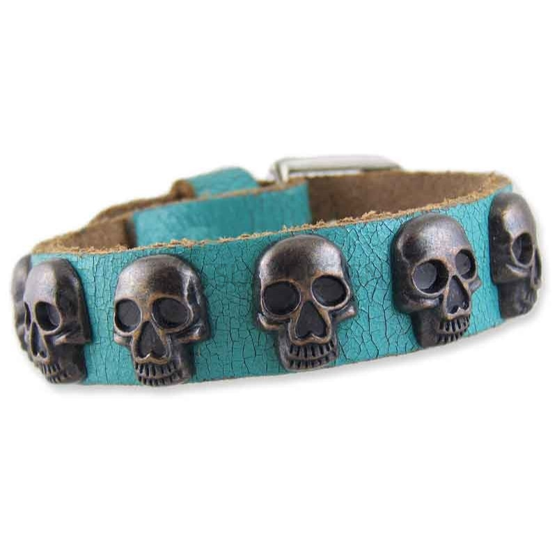 Women's Skull Turquoise Leather Bracelet 001