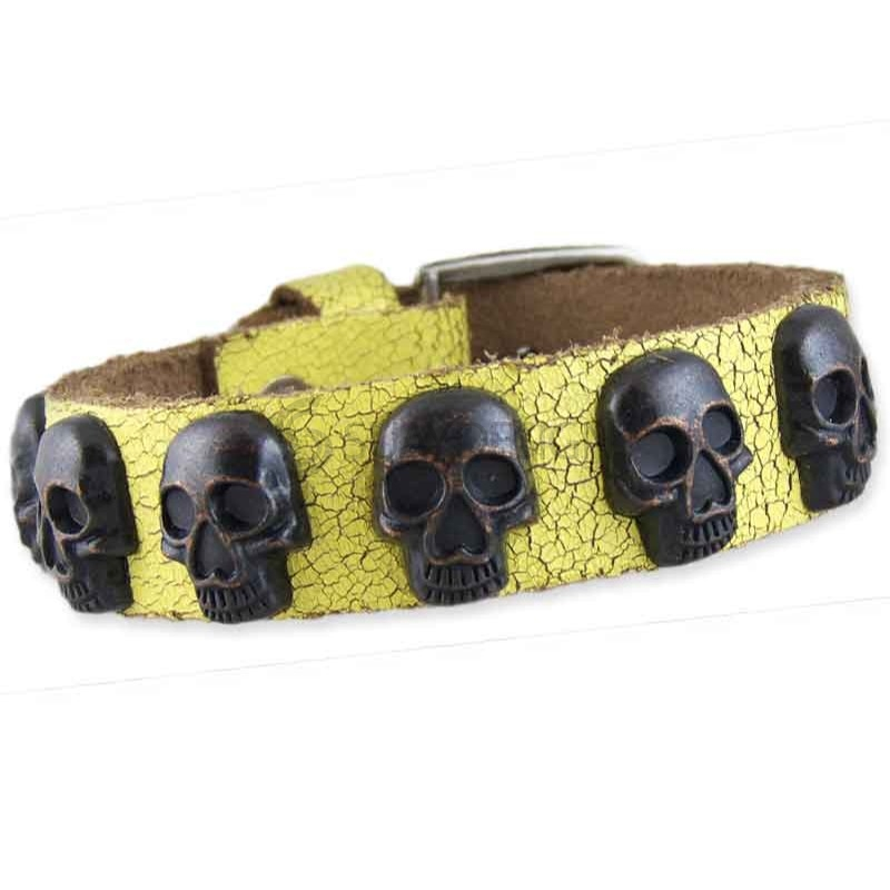 Skull Yellow Leather Bracelet 001