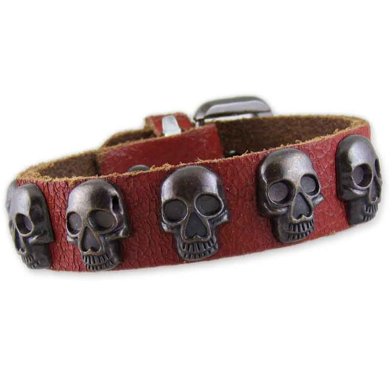 Skull Red Leather Bracelet 001