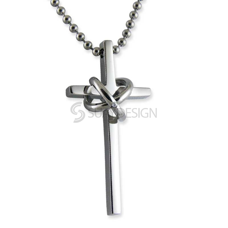 Women's Tenacity Minor Steel Cross Necklace