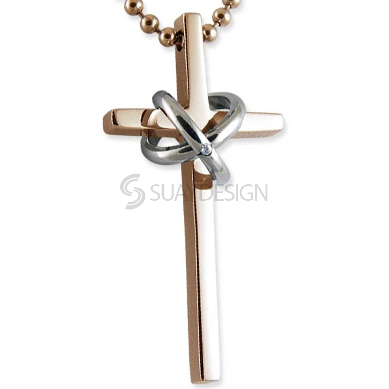 Women's Tenacity Minor Rose Steel Cross Necklace