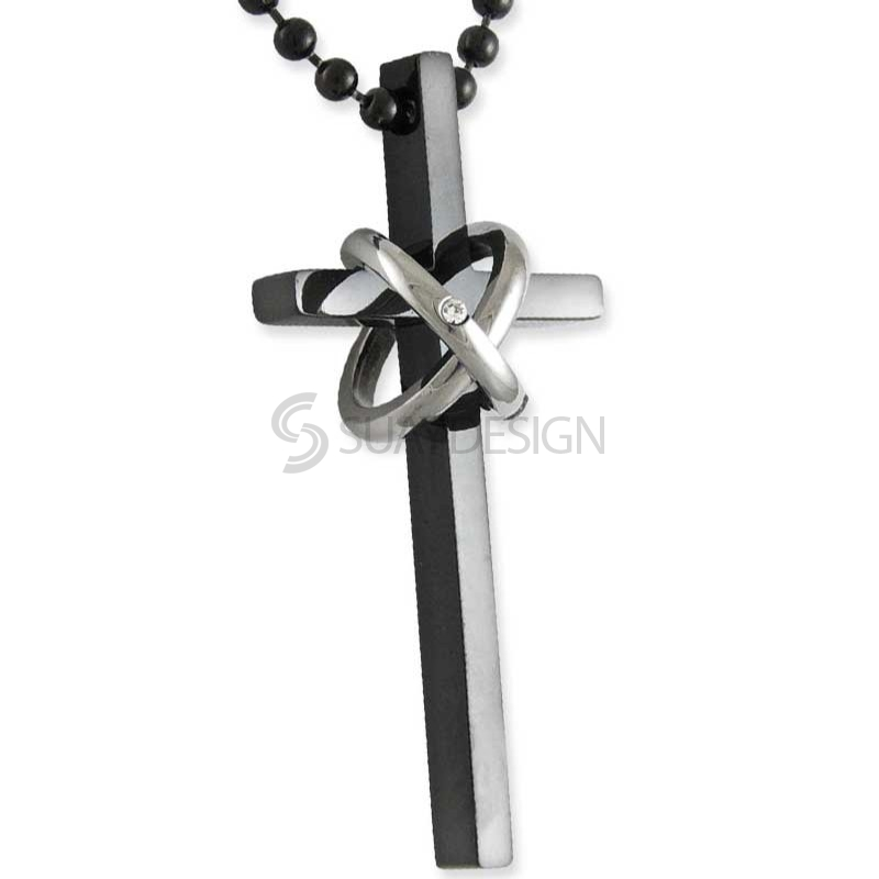 Women's Tenacity Major Black Steel Cross Necklace