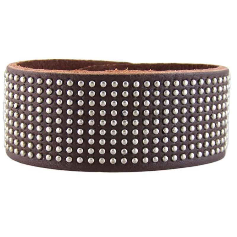 Women's Studded Brown Leather Bracelet 021