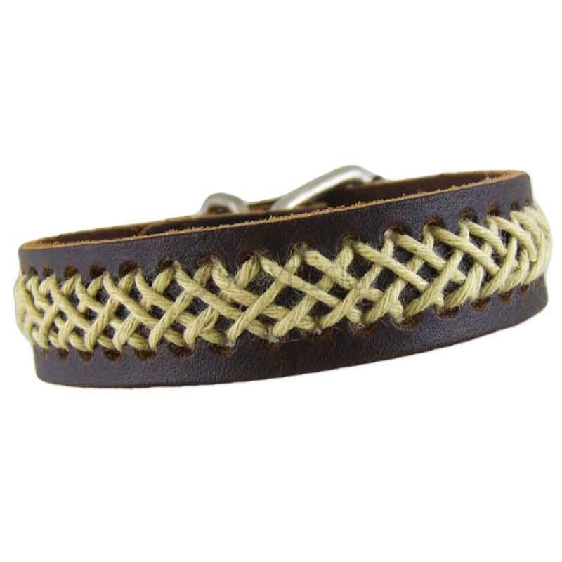 Women's Brown Leather Bracelet with Woven Cotton 070
