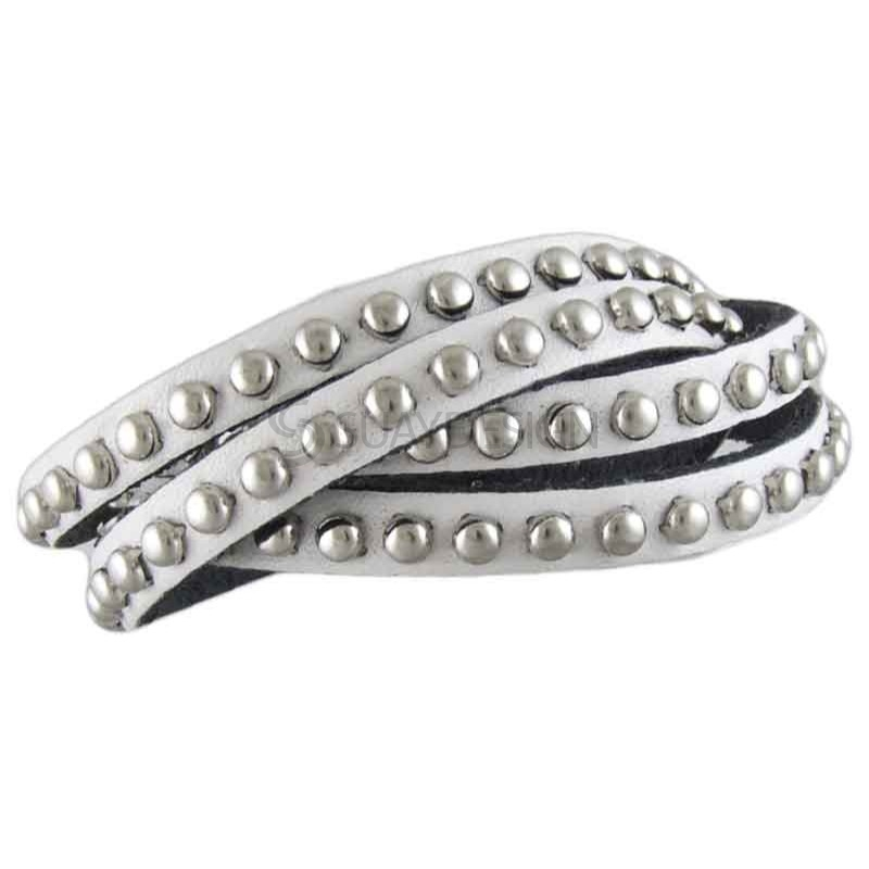 Women's Studded White Leather Bracelet 022A