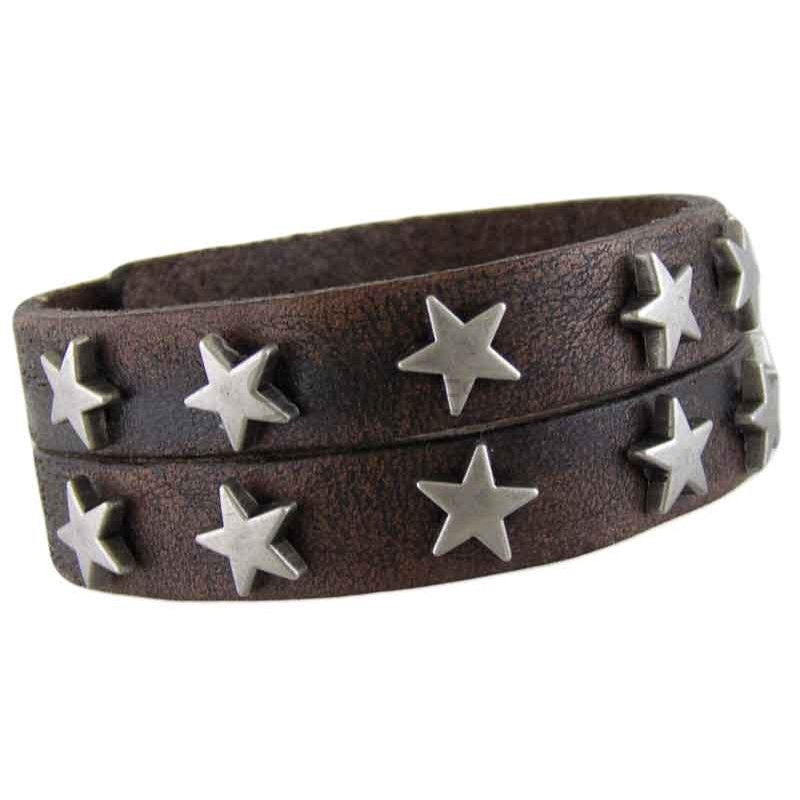 Star Brown Leather Bracelet 013