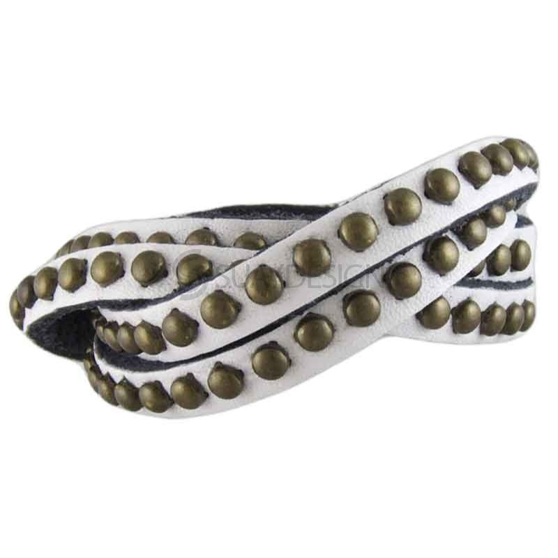 Women's Studded White Leather Bracelet 022C