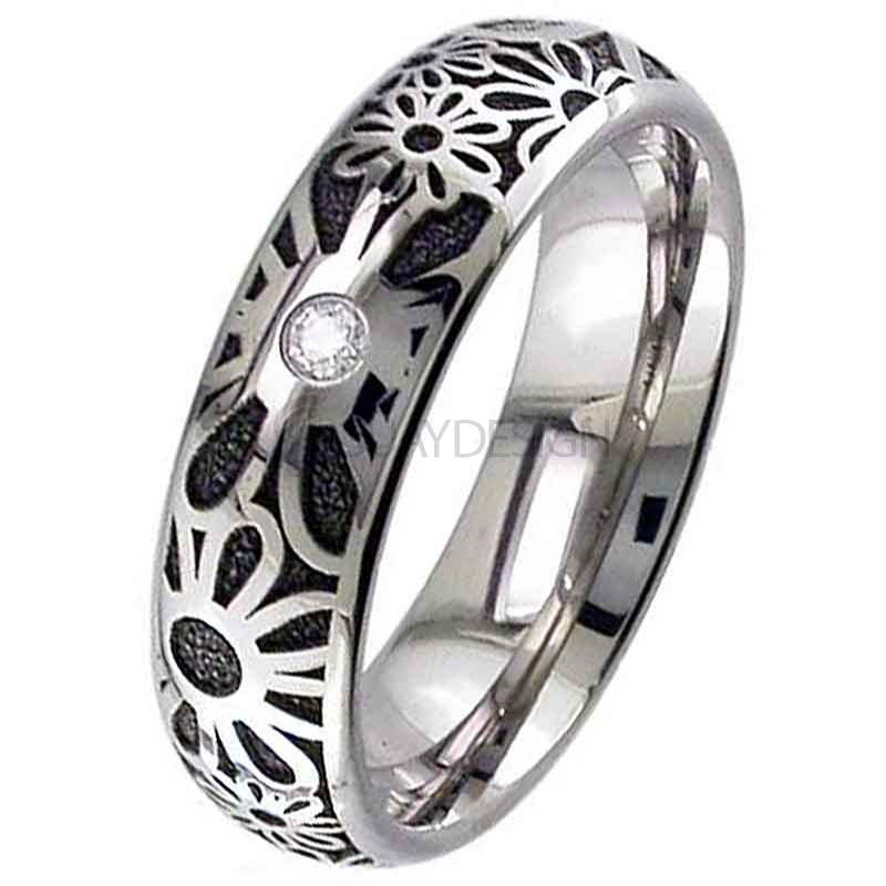 Titanium Floral Wedding Ring