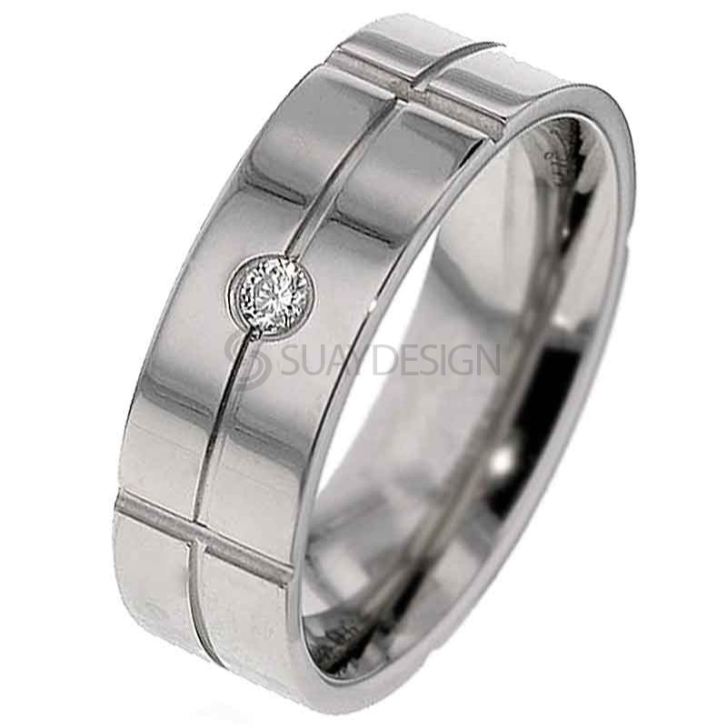 Women's Titanium Diamond Wedding Ring T137DS