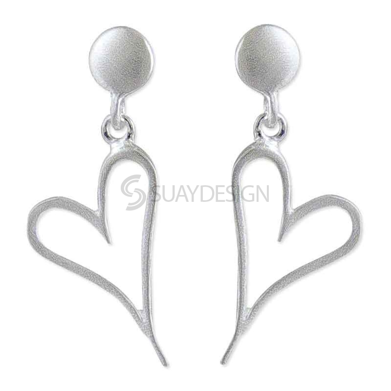 Women's Two of Hearts Silver Earrings