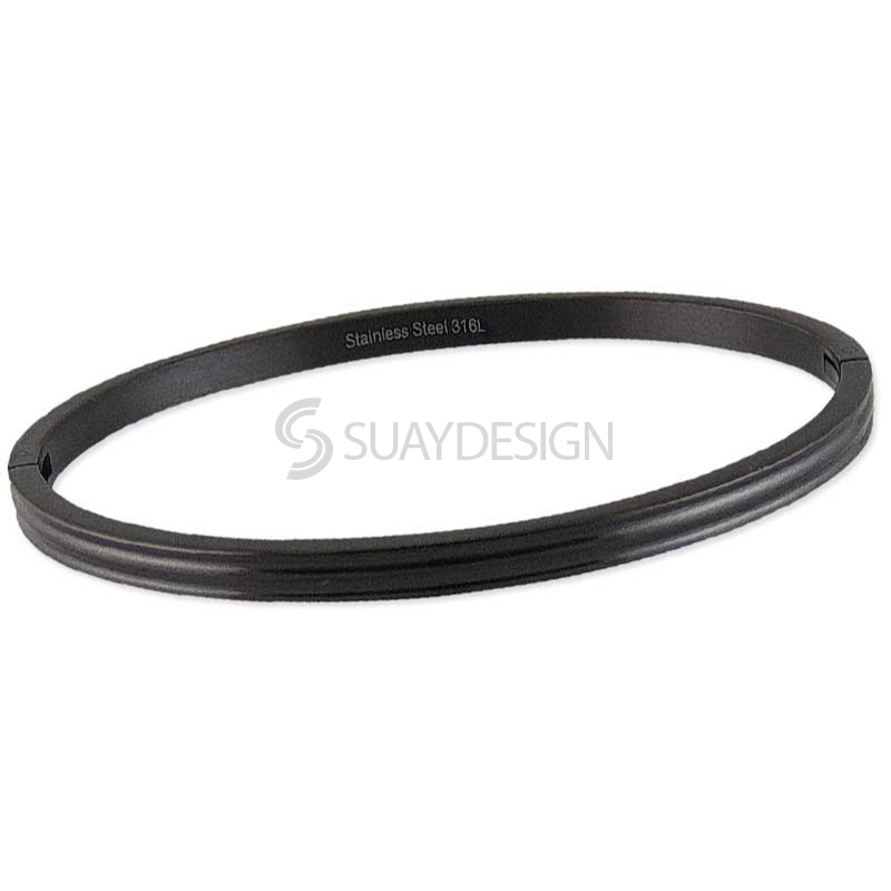 Women's Relinquish Black Steel Bangle