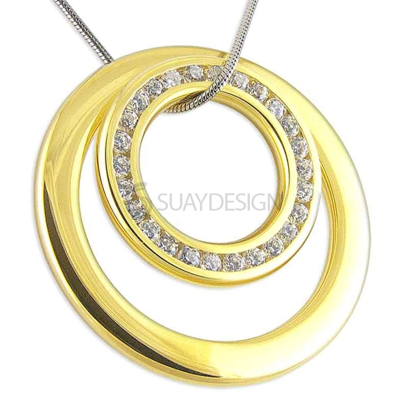 Women's Oppulence Gold Crystal Steel Necklace