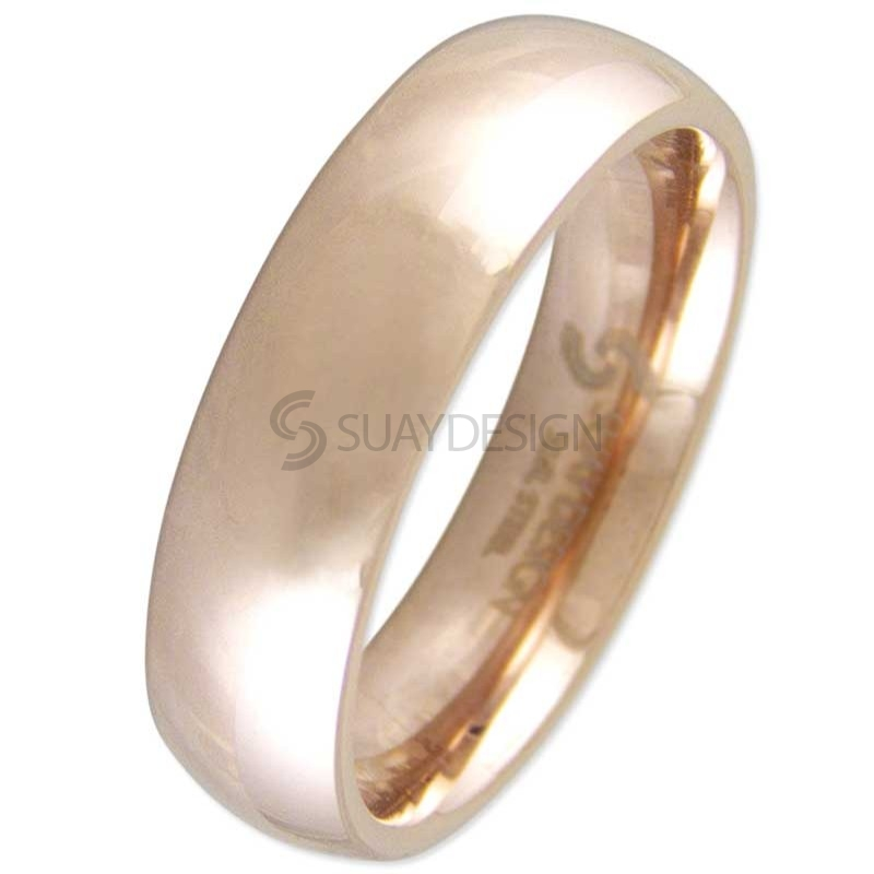 Women's Smooth Rose 6mm Steel Ring