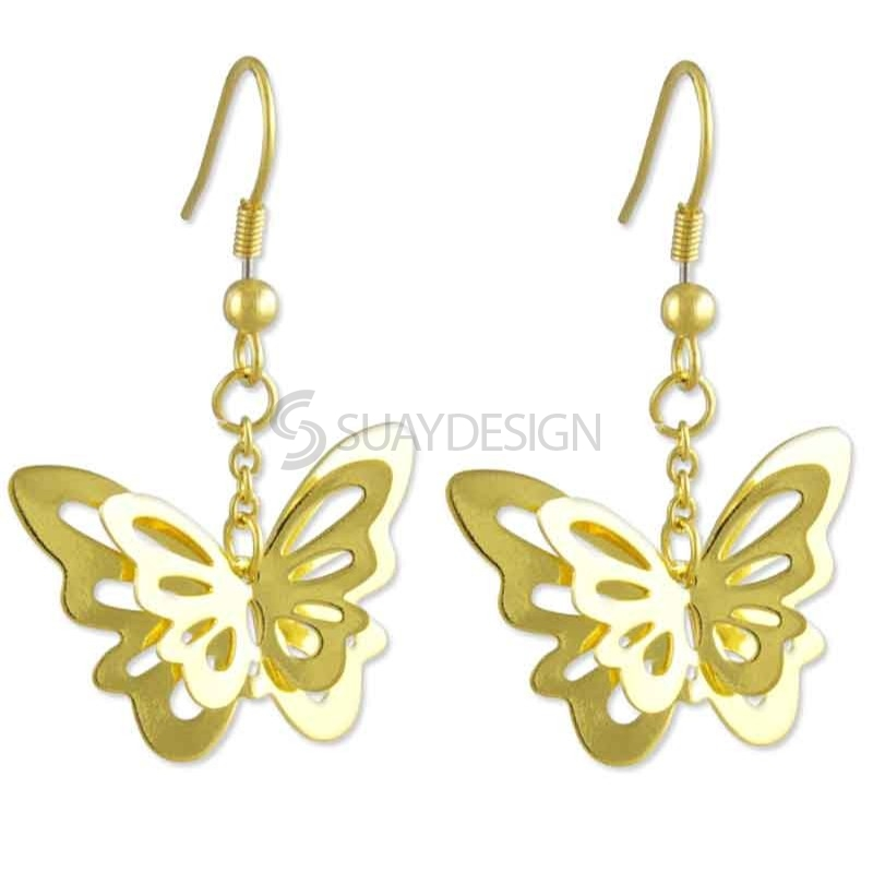 Women's Steel Gold Butterfly Earrings