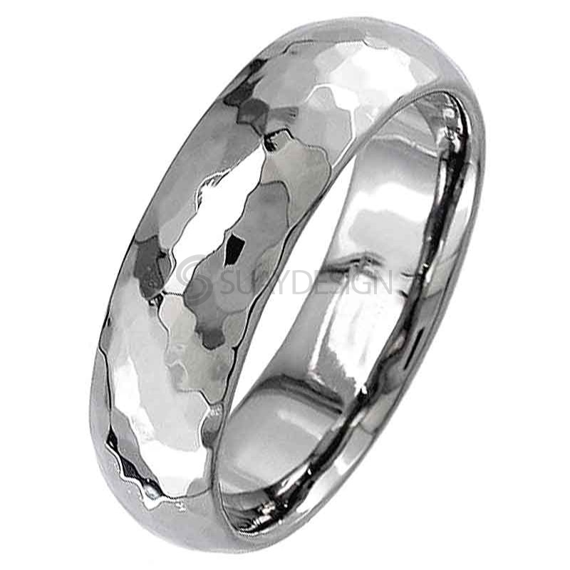 Women's Dome profile titanium ring with a high polished hammered effect