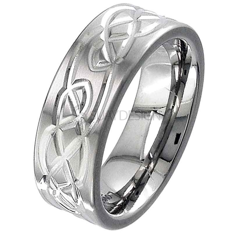 Women's Flat Profile Titanium Ring with a Celtic Knot Design