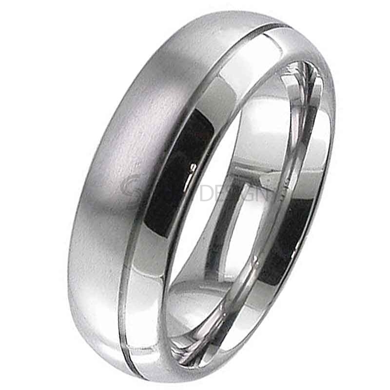 Women's Dome Profile Matt and Polished Titanium Ring