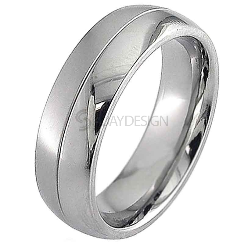 Women's Dome Profile Titanium Ring with a Two Tone Finish and Central Groove