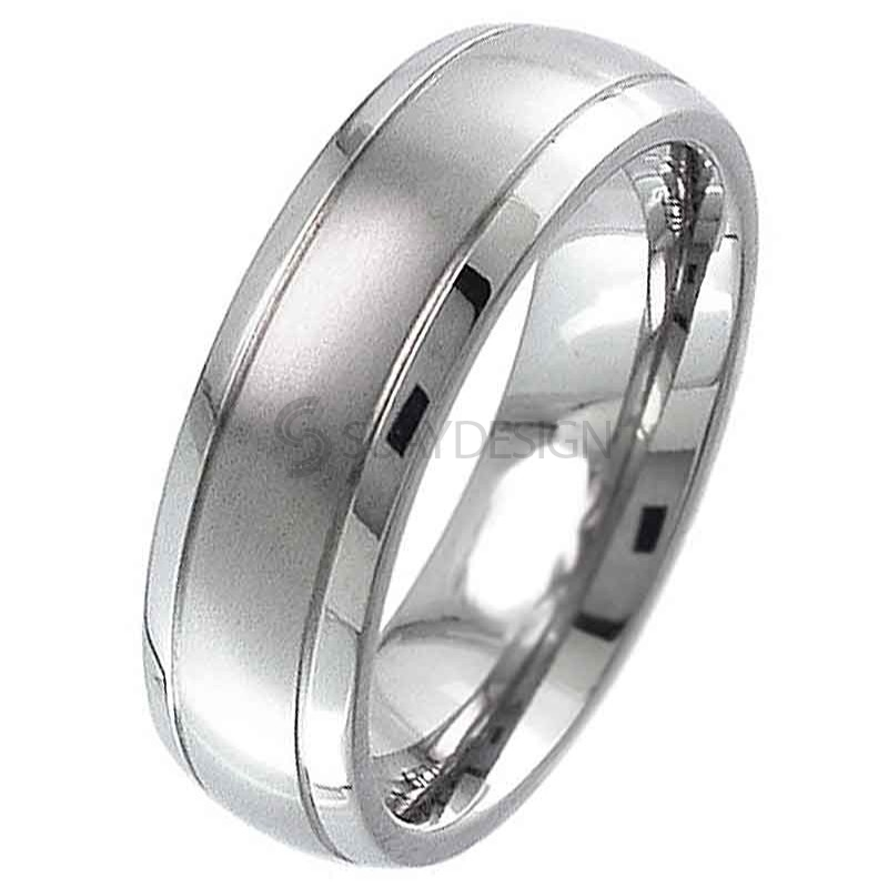 Women's Dome Titanium Ring with a Two Tone Finish