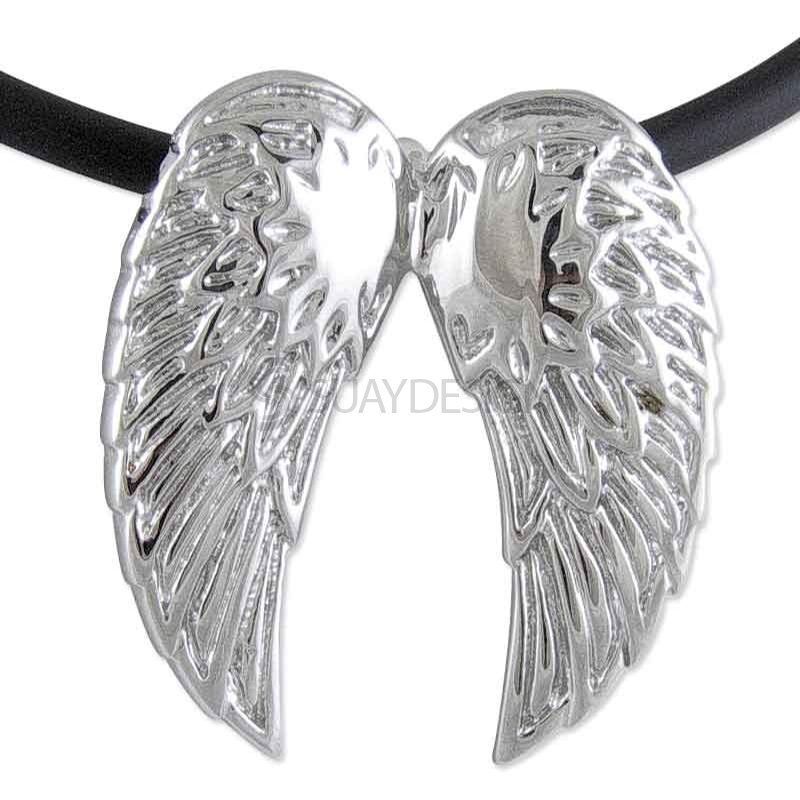 Women's Polished Steel Angel Wings on a 3mm Rubber Necklace
