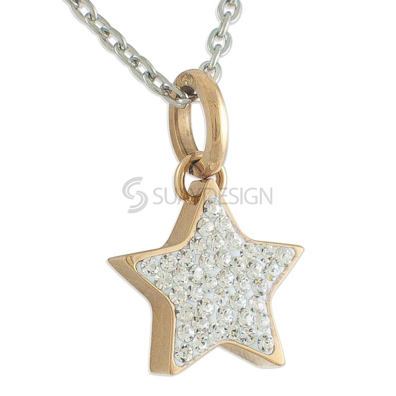 Women's Rose Gold Plated Steel Star with Cubic Zirconia Crystals