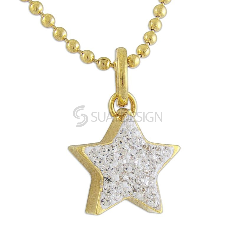 Women's 14Kt Gold Plated Steel Star with Crystals
