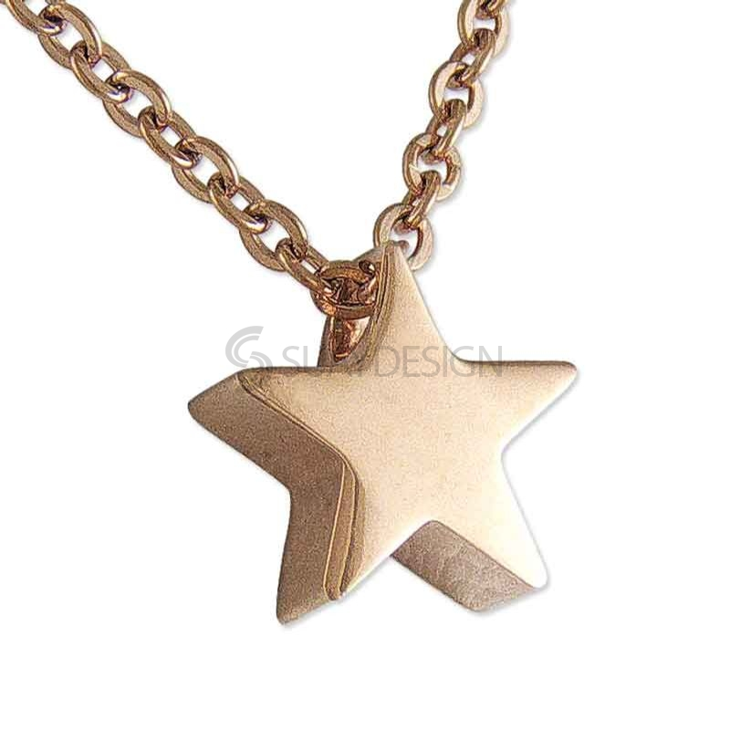 Women's Polished Rose Gold Plated Steel Star