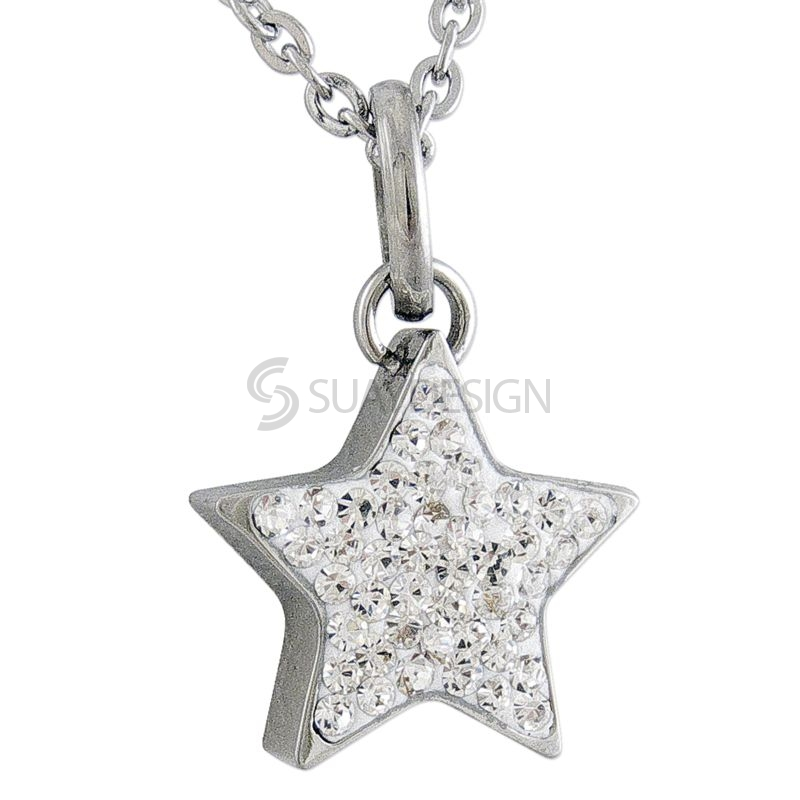 Women's Steel Cubic Zirconia Crystal Star Necklace