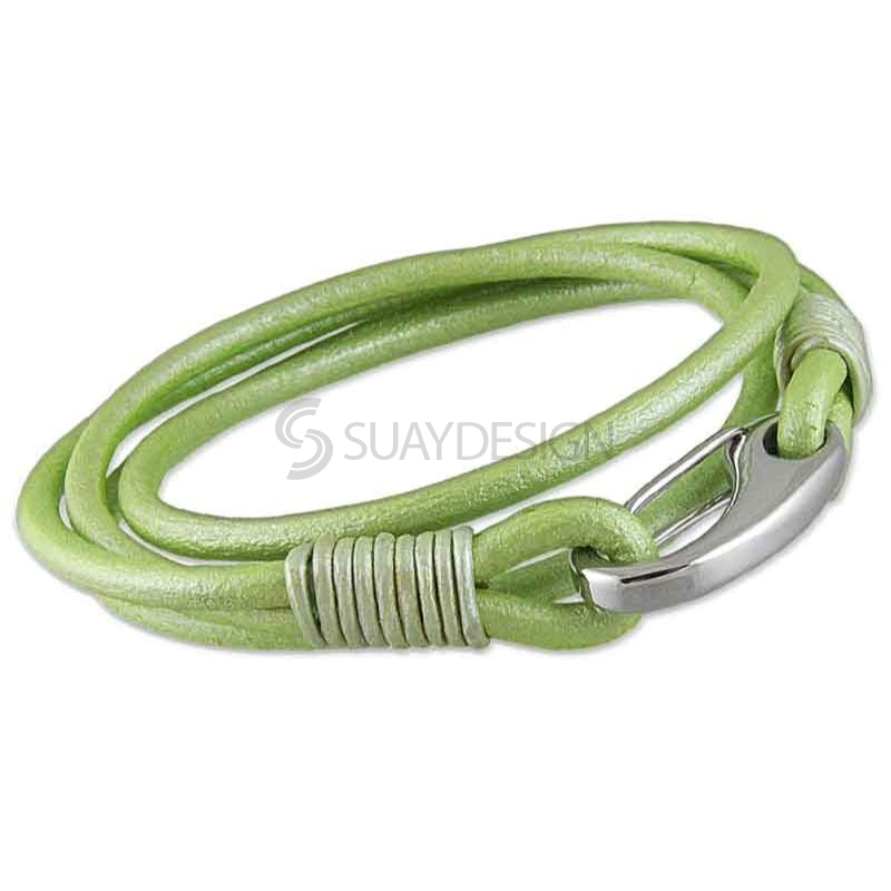 Women's Double Wraparound 3mm Light Green Leather Bracelet with a Steel Clasp