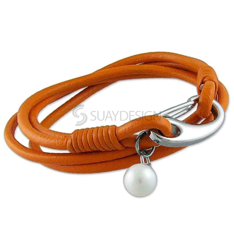 Women's Double Wraparound 3mm Orange Leather Bracelet with a Pearl
