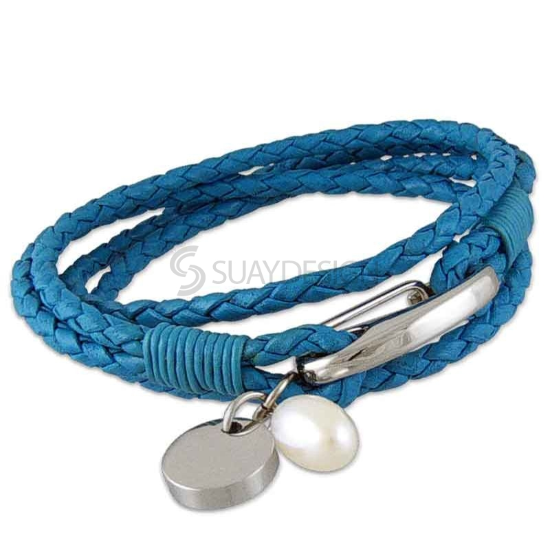 Women's Plaited 3mm Triple Wraparound Sky Blue Leather Bracelet with Steel Clasp