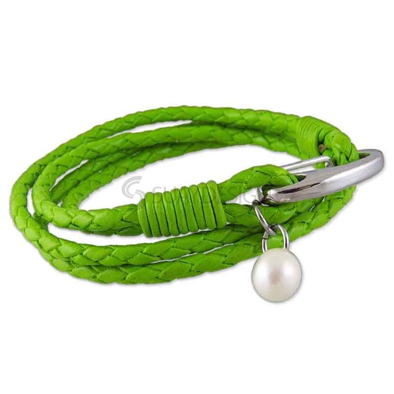 Women's Plaited 3mm Triple Wraparound Green Leather Bracelet with Steel Clasp