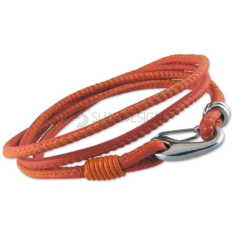 Women's Fine Soft 2.5mm Double Wraparound Orange Leather Bracelet