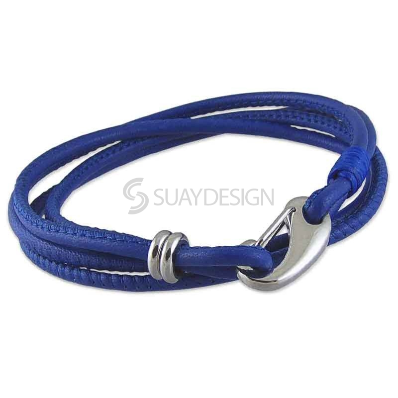 Women's Fine Soft 2.5mm Double Wraparound Navy Blue Leather Bracelet